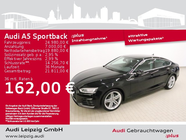 Audi A5 Sportback 2.0 TFSI *Sportfahrwerk*LED-Paket*, Jahr 2018, Benzin