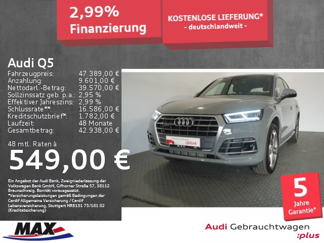 Audi Q5 45 TFSI QUATTRO SPORT S LINE+LED+NAVI+AHK+ALU, Jahr 2019, Benzin