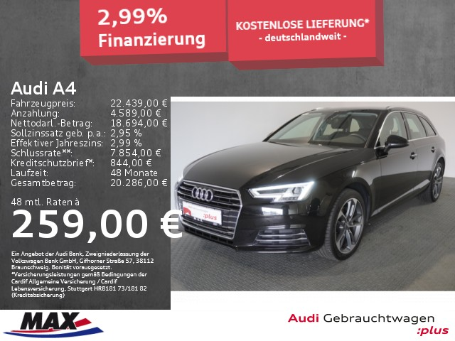 Audi A4 Avant 2.0 TDI DESIGN LED+KAMERA+MMI NAVI.+ALU, Jahr 2018, Diesel