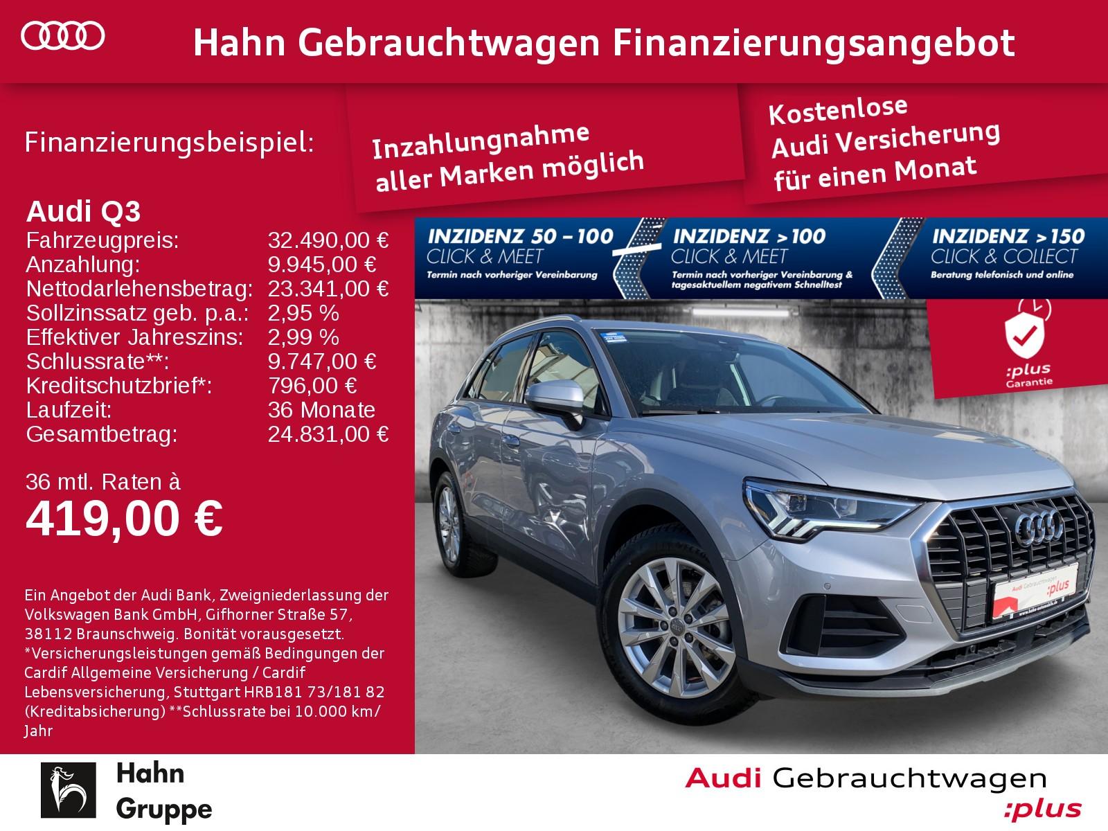 Audi Q3 35 TFSI Navi LED AHK Sitzh Einpark Klimaa, Jahr 2019, Benzin
