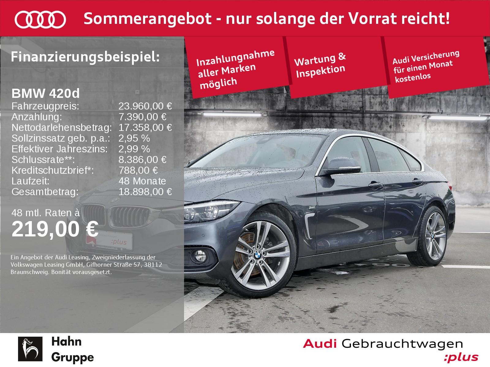 BMW 420d Gran Coupé Step-Trc Sport LED Leder Navi EinparkH, Jahr 2017, Diesel
