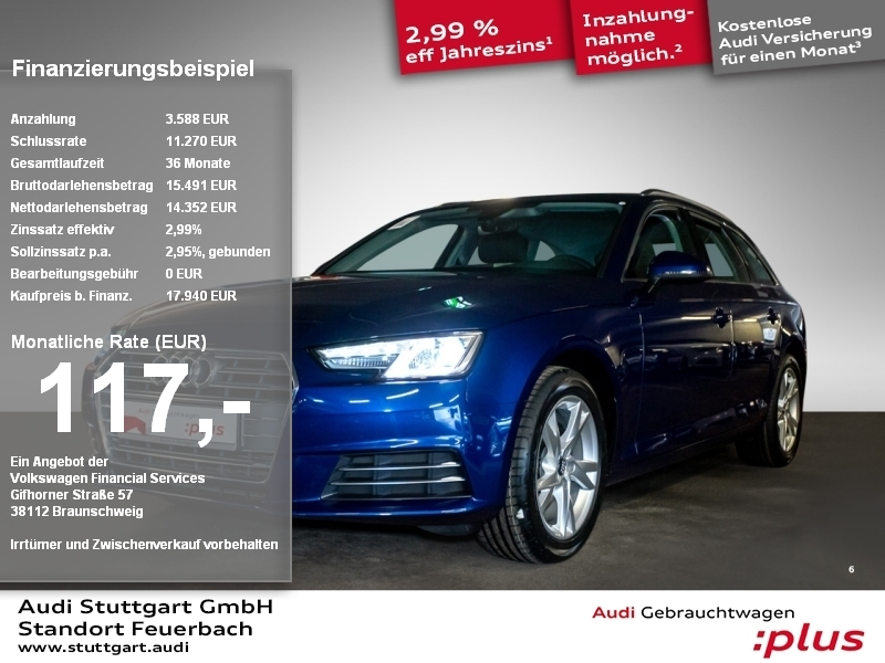 Audi A4 Avant sport 1.4 TFSI S tronic Xenon Navi PDC, Jahr 2017, Benzin