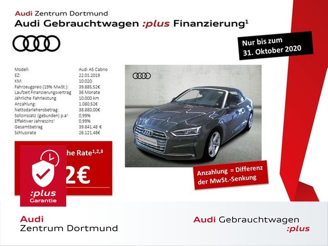 Audi A5 Cabrio 40TDI 2xS line/LED/Navi/Leder/Massage, Jahr 2019, Diesel