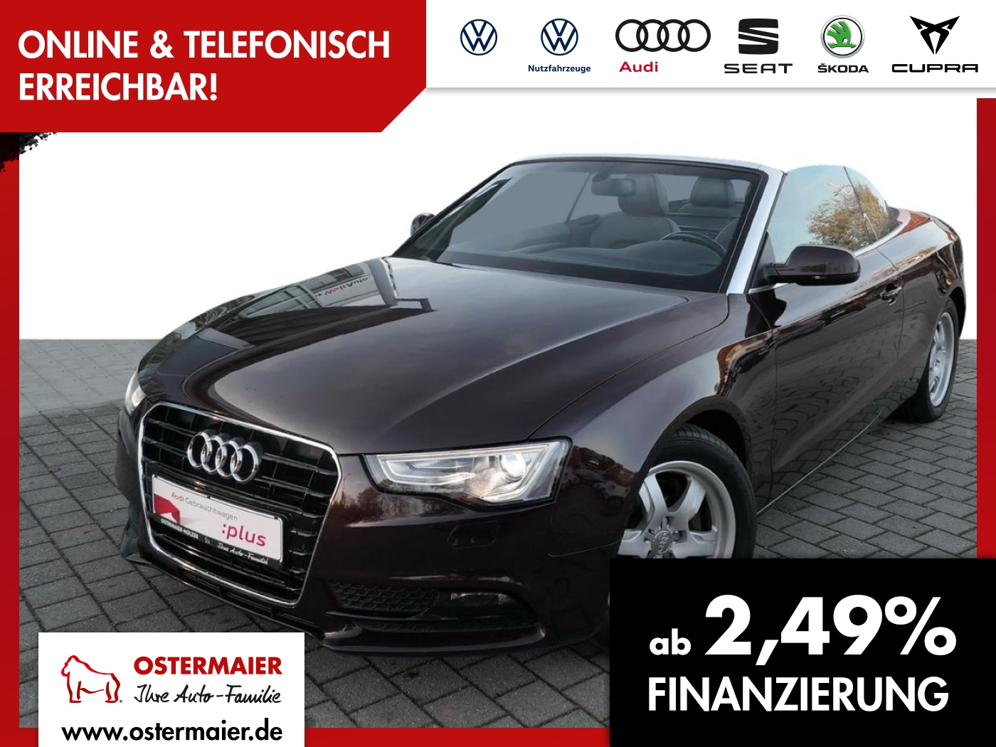 Audi A5 Cabriolet 2.0TFSI 211PS NAVI.ALCANTARA.SHZG.X, Jahr 2012, Benzin