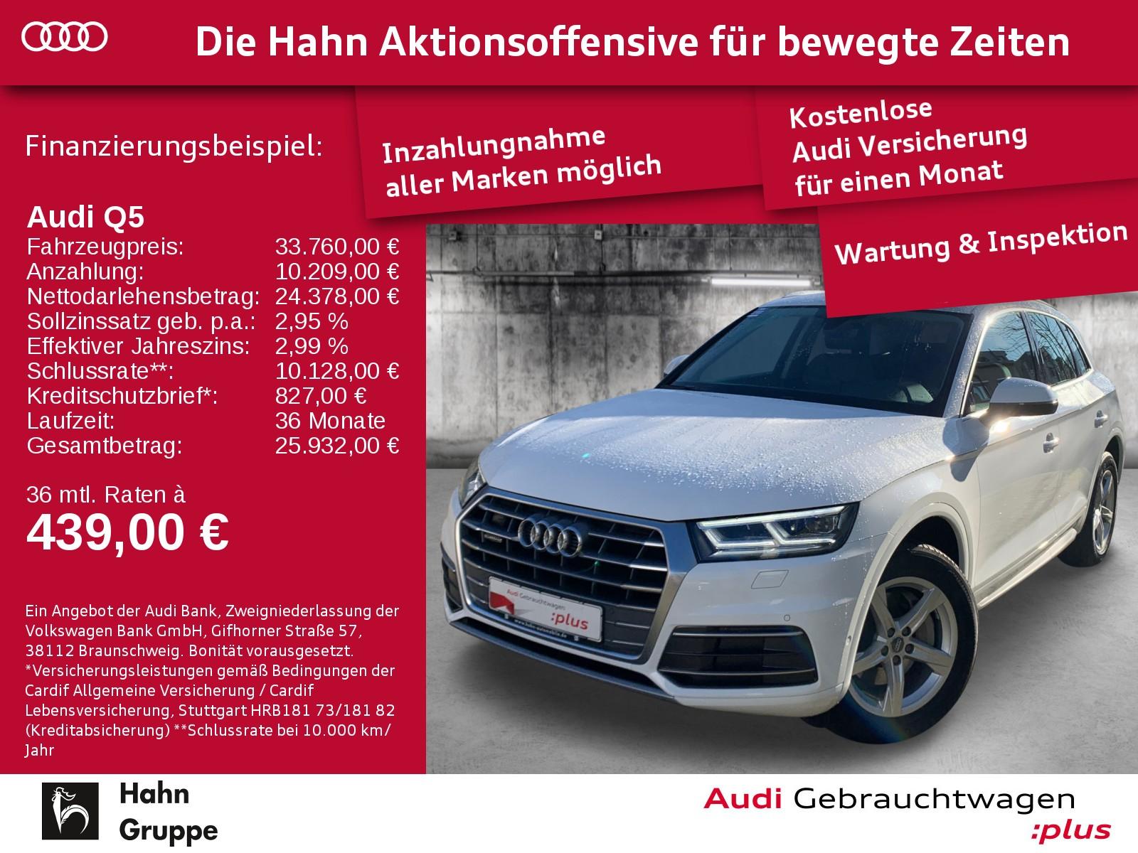 Audi Q5 2.0TDI qu. S-Trc Sport LED Navi Leder SitzH, Jahr 2017, Diesel