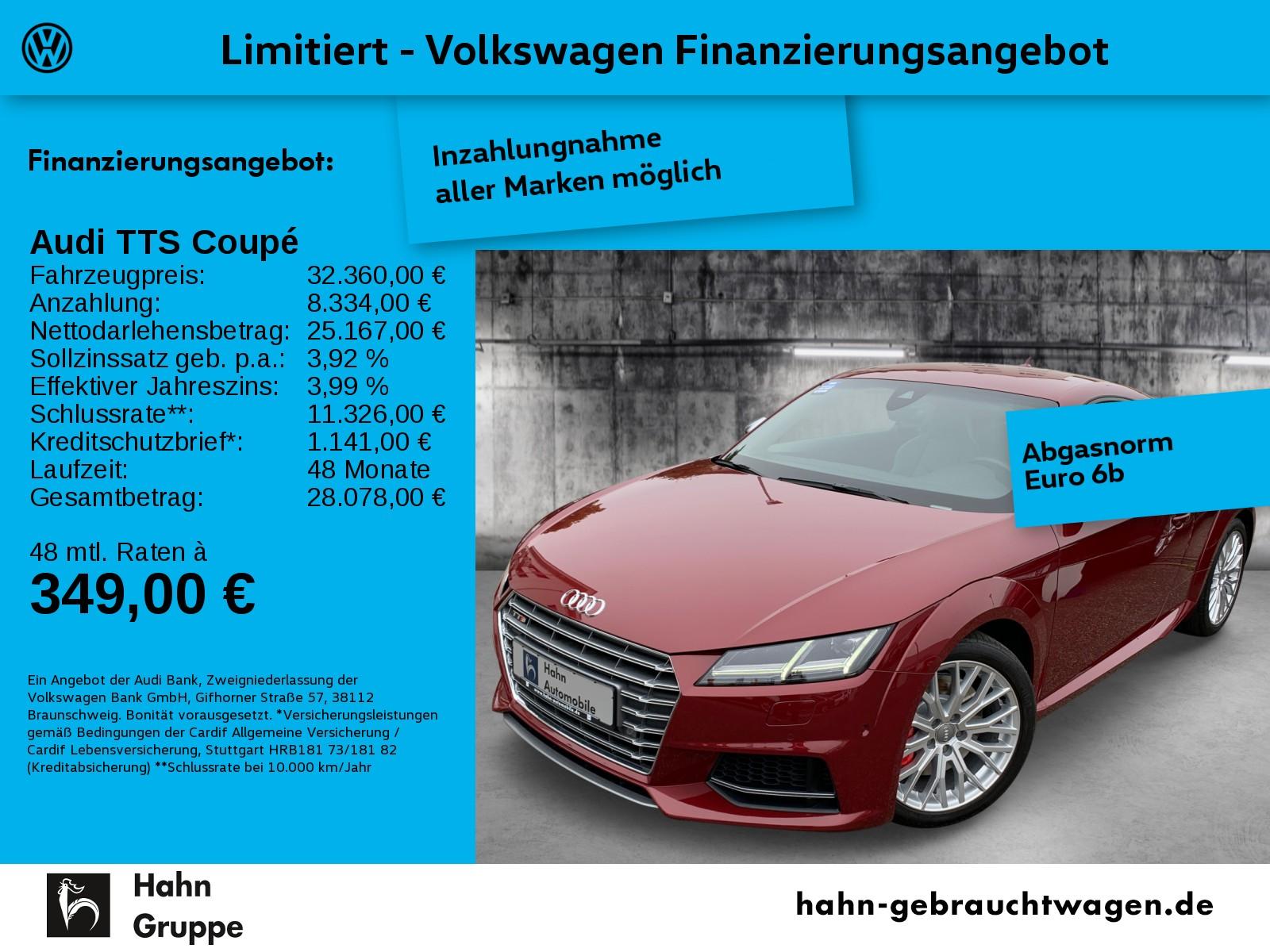 Audi TTS Coupé 2,0TFSI quattro S tronic Nav Leder B&O, Jahr 2015, Benzin