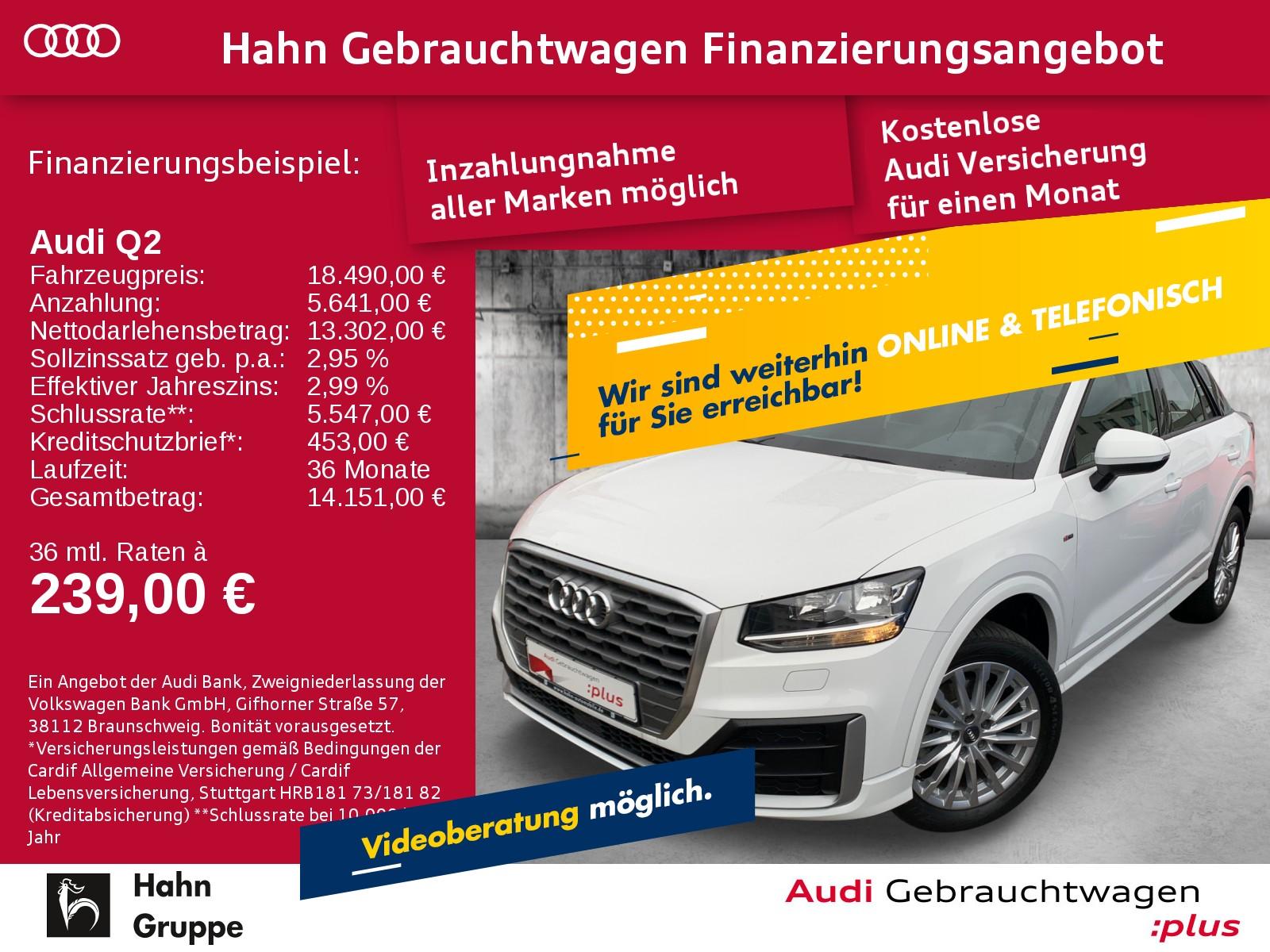 Audi Q2 1.4TFSI S-line SitzH EinparkH KlimaA Licht&RegenS, Jahr 2017, Benzin