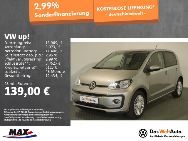 Volkswagen up! move up! 1.0 KAMERA+ALU+DAB+SITZHZG+TEMPOMAT, Jahr 2021, Benzin