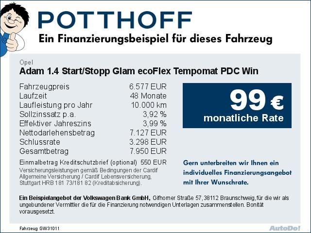 Opel Adam 1.4 Start/Stopp Glam ecoFlex Tempomat PDC Win, Jahr 2014, Benzin