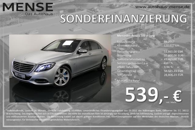 Mercedes-Benz S 500 e Lang Fondentertainment Vollausstattung, Jahr 2017, Hybrid