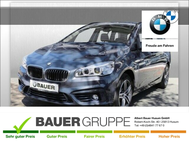 BMW 218 Gran Tourer i Sport Line Bluetooth Navi LED LED-Tagfahrlicht Multif.Lenkrad NR RDC, Jahr 2016, Benzin