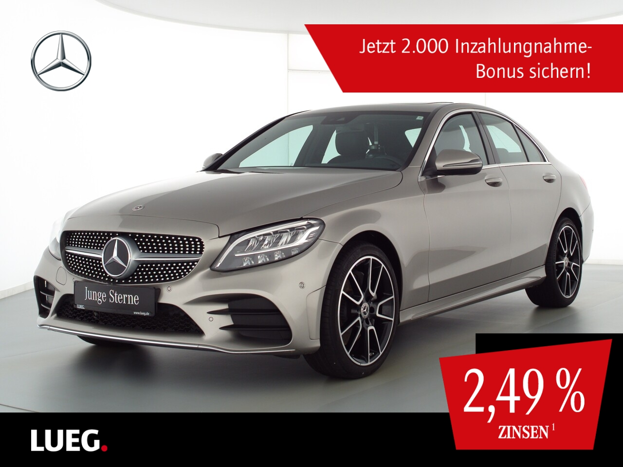 Mercedes-Benz C 400 4M AMG+COM+SHD+LED-HP+19AMG+CarP+ParkA+RFK, Jahr 2019, Benzin