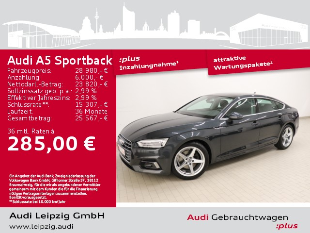 Audi A5 Sportback 2.0 TDI sport *Pano*pre sense rear*, Jahr 2018, Diesel