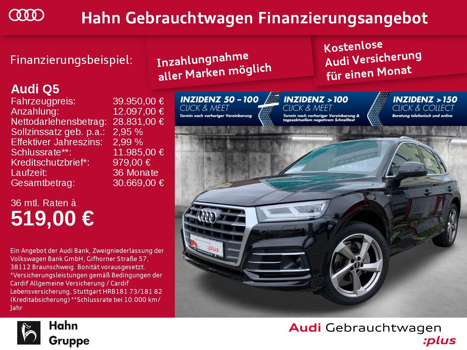 Audi Q5 2.0 TFSI qua. S-trc S-line Navi LED ACC Pano, Jahr 2018, Benzin