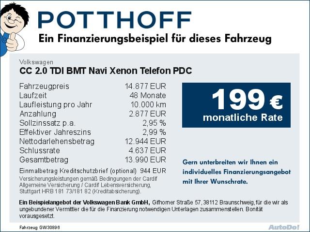 Volkswagen CC 2.0 TDI BMT Navi Xenon Telefon PDC Bluetooth, Jahr 2013, Diesel
