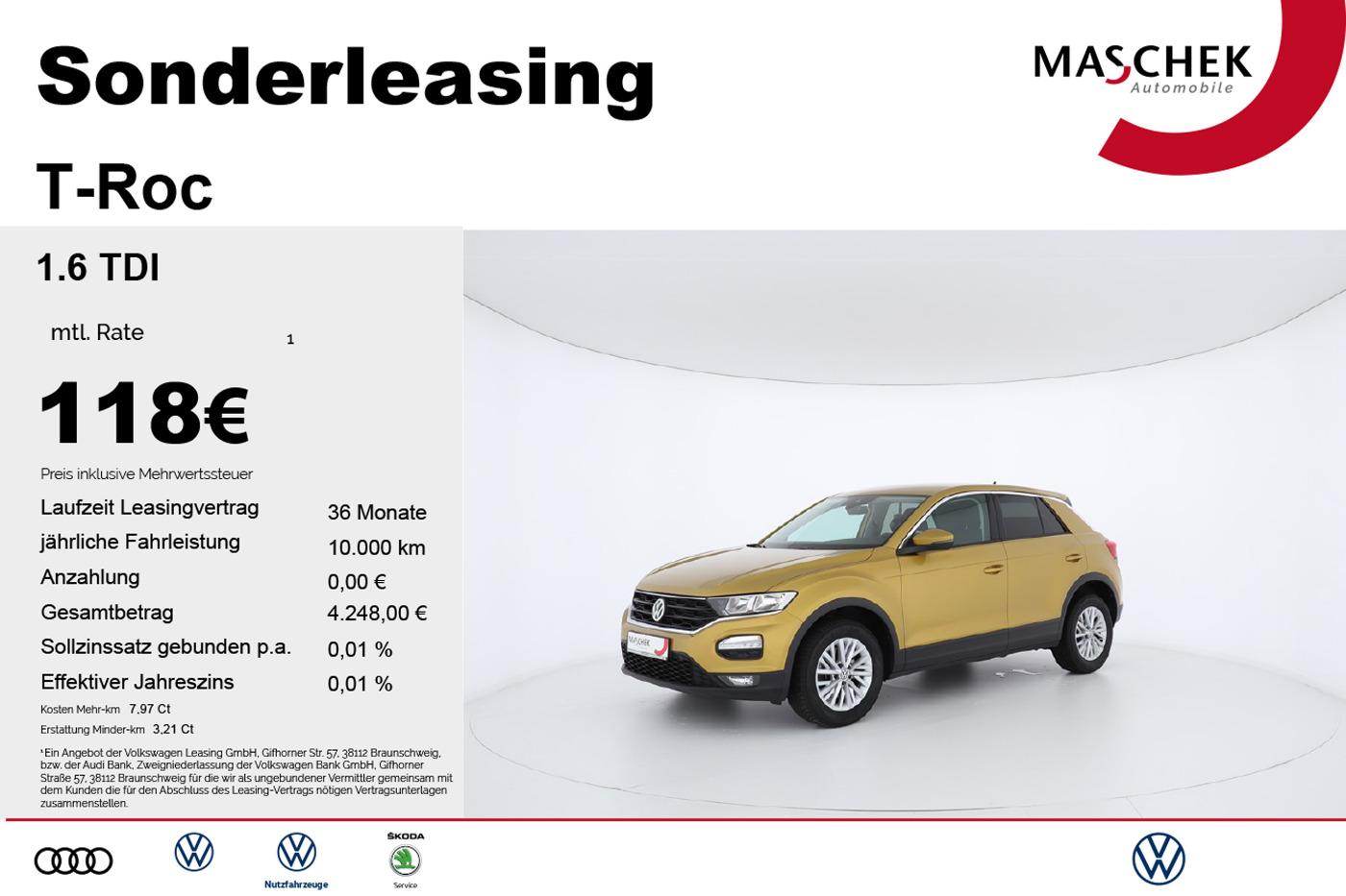 Volkswagen T-ROC 1.6 TDI Navi Alu EPH Sonderleasing SHZ*MFL, Jahr 2017, Diesel