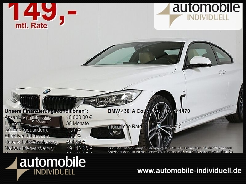 BMW 430iA xDrive Coupe M Sport Navi LED HuD H&K, Jahr 2016, Benzin