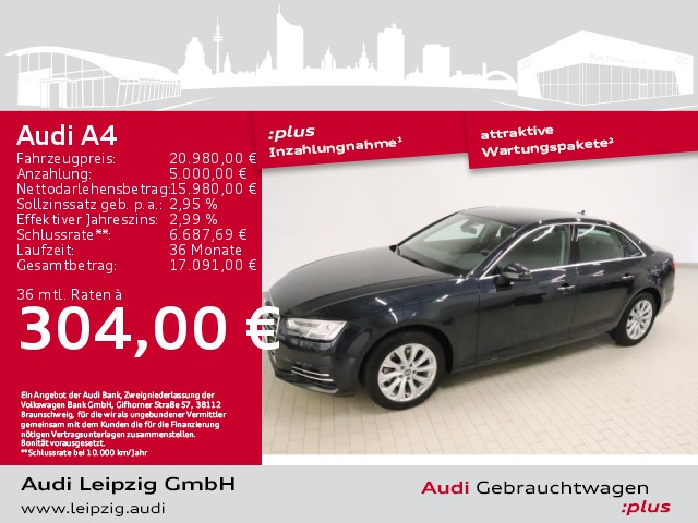 Audi A4 Limousine 2.0 TFSI design ultra*Standheizung*, Jahr 2017, Benzin