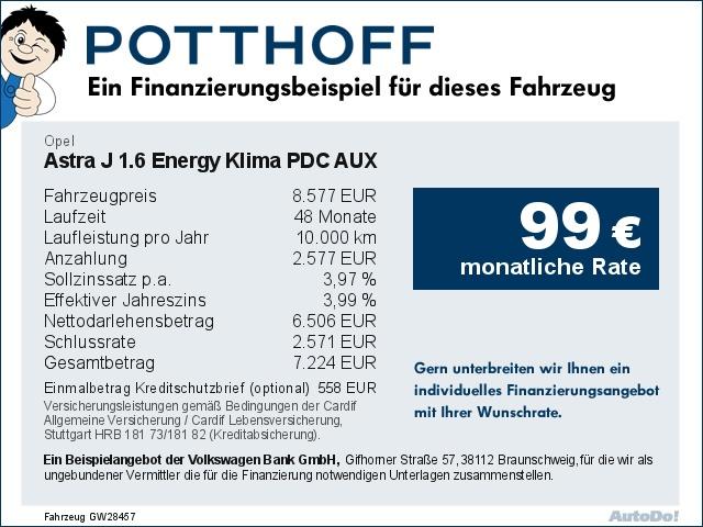 Opel Astra J 1.6 Energy Klima PDC AUX Bluetooth, Jahr 2014, Benzin