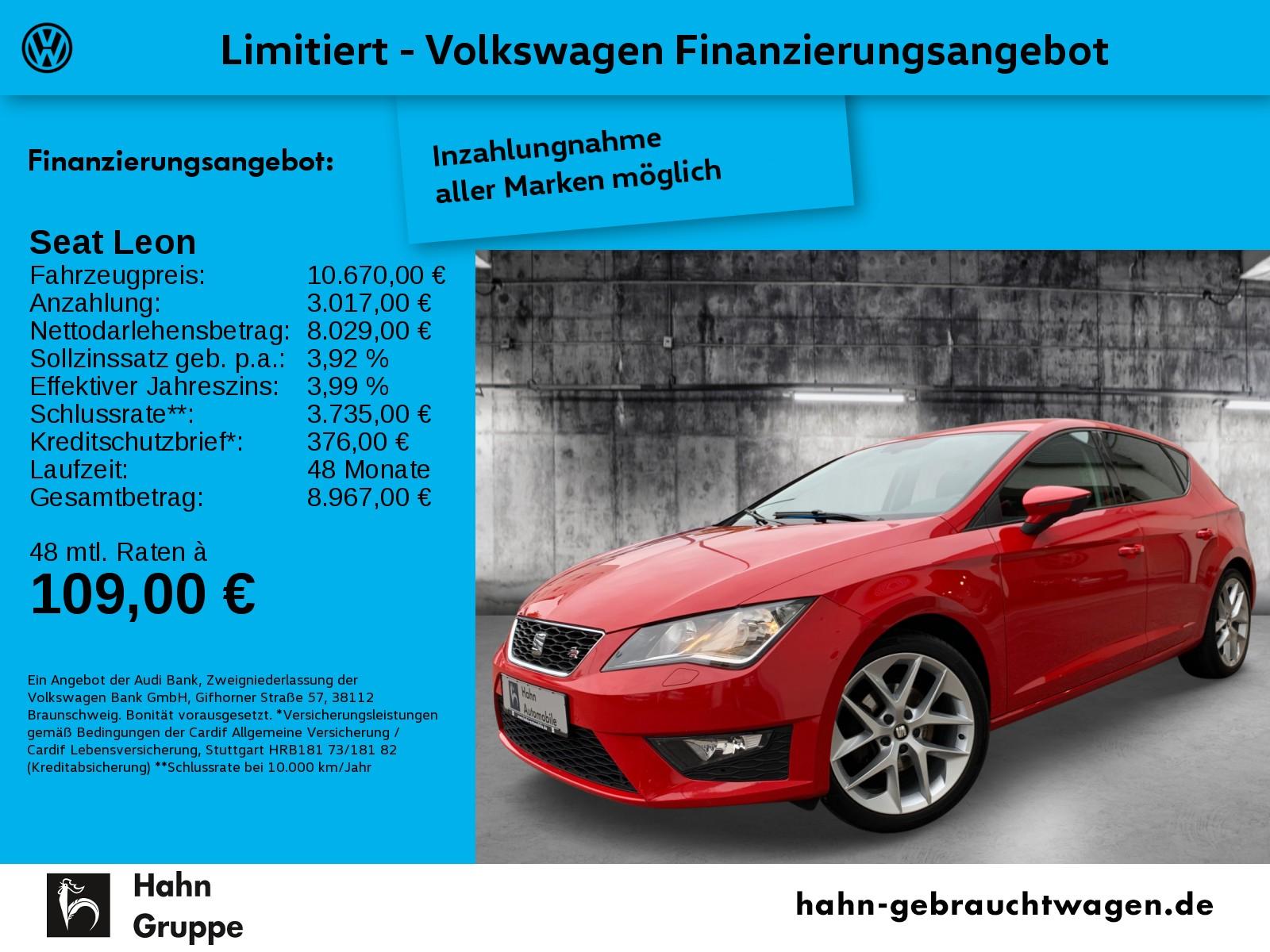 Seat Leon FR 1,4TSI Climatro Park Sitzhz Tempomat MFL, Jahr 2014, Benzin
