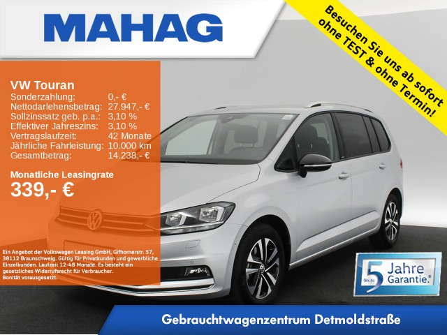 Volkswagen Touran 1.5 TSI IQ.DRIVE 7-Sitzer Navi eKlappe Sitzhz. ParkAssist LightAssist FrontAssist 16Zoll DSG, Jahr 2020, Benzin