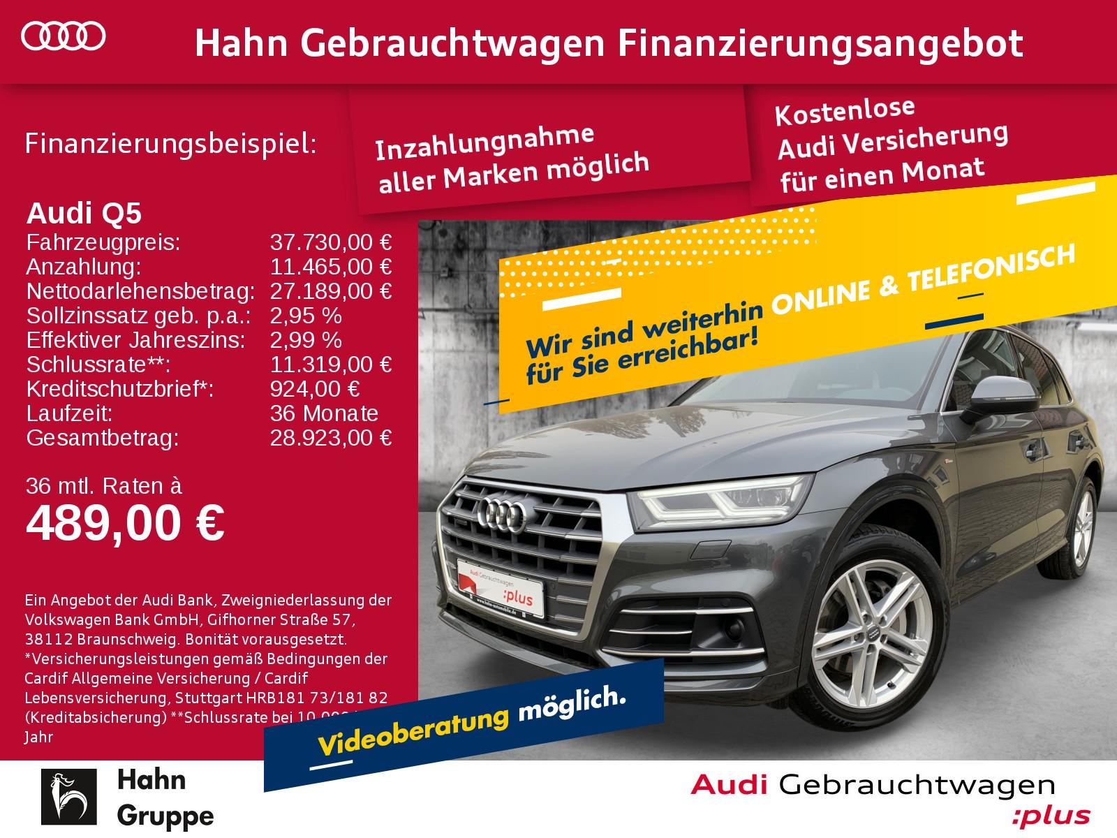 Audi Q5 Sport 2.0TDI qua S-trc S-line Navi LED AHK CAM Pano, Jahr 2017, Diesel