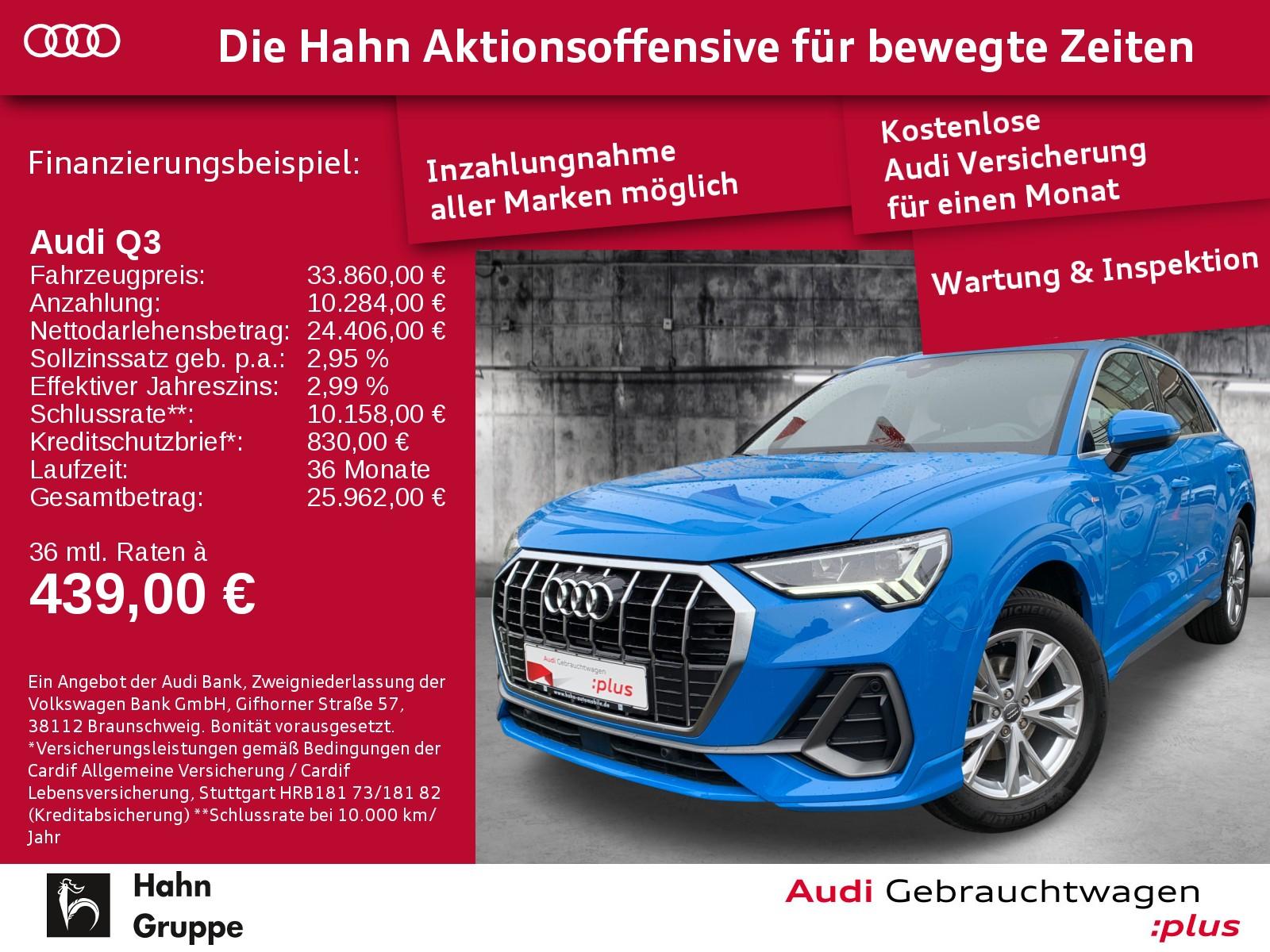 Audi Q3 35TFSI S-Trc S-line LED SitzH Navi+ EinparkH AHK-Vor, Jahr 2018, Benzin
