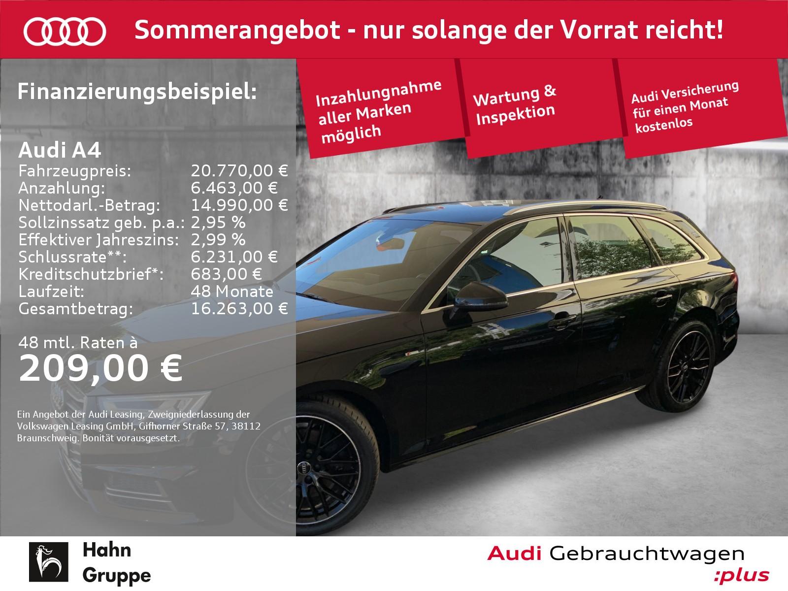 Audi A4 Avant 2.0TDI EU6 S-Trc S-Line LED Navi Tempo, Jahr 2018, Diesel