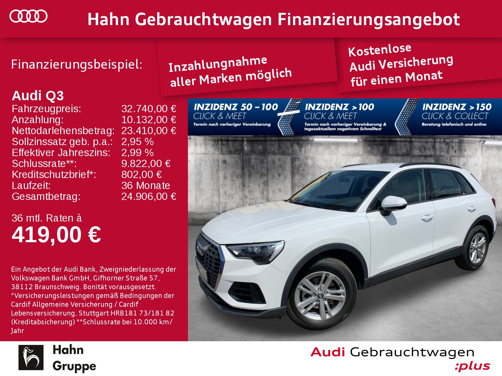 Audi Q3 35 TDI qua Navi AHK Sitzh Einpark Tempo Klima, Jahr 2020, Diesel