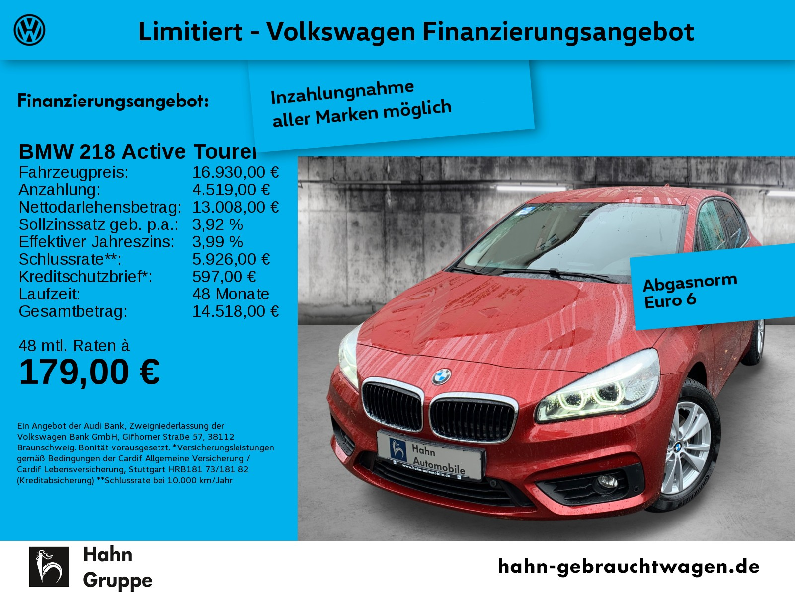 BMW 218i Active Tourer Navi LED Sitzh Einpark Climatr, Jahr 2016, Benzin