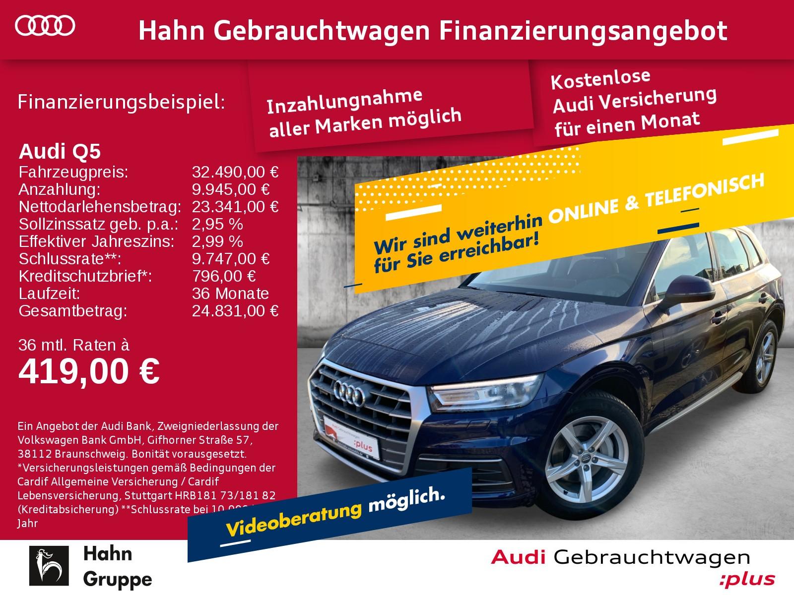 Audi Q5 Sport 2.0TDI qua S-trc Navi Xen Sitzh Einpark Tempo, Jahr 2017, Diesel