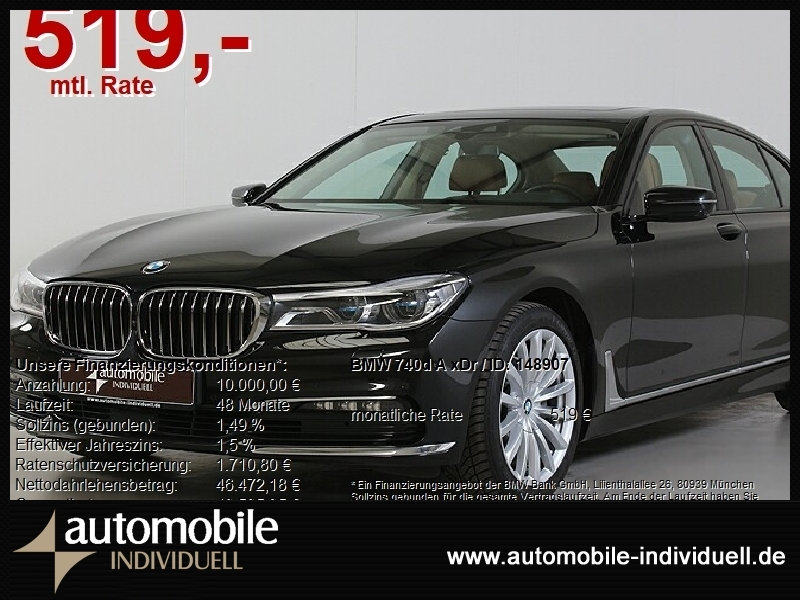 BMW 740d A xDr EU6 Laserlicht HuD Navi ACC, Jahr 2017, Diesel