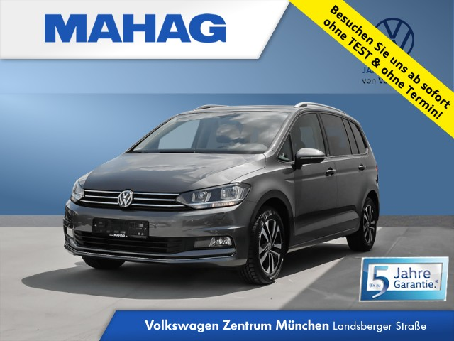 Volkswagen Touran 1.5 TSI United 7-Sitzer Navi Kamera eKlappe AppConnect Sitzhz. ParkPilot LightAssist FrontAssist 16Zoll DSG, Jahr 2020, Benzin