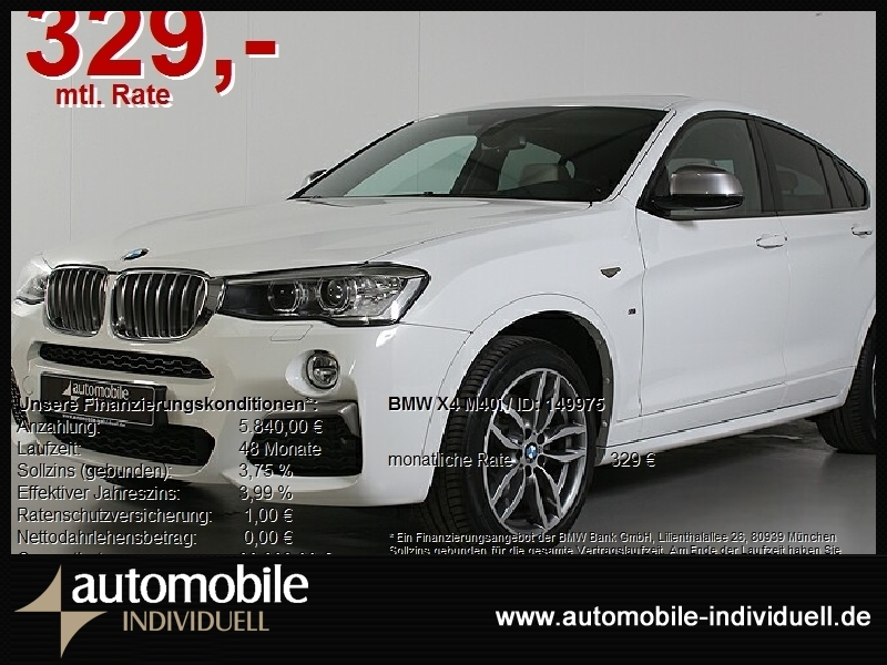 BMW X4 M40i M Sportpaket Xen AHK HuD DAB Navi H&K, Jahr 2017, Benzin