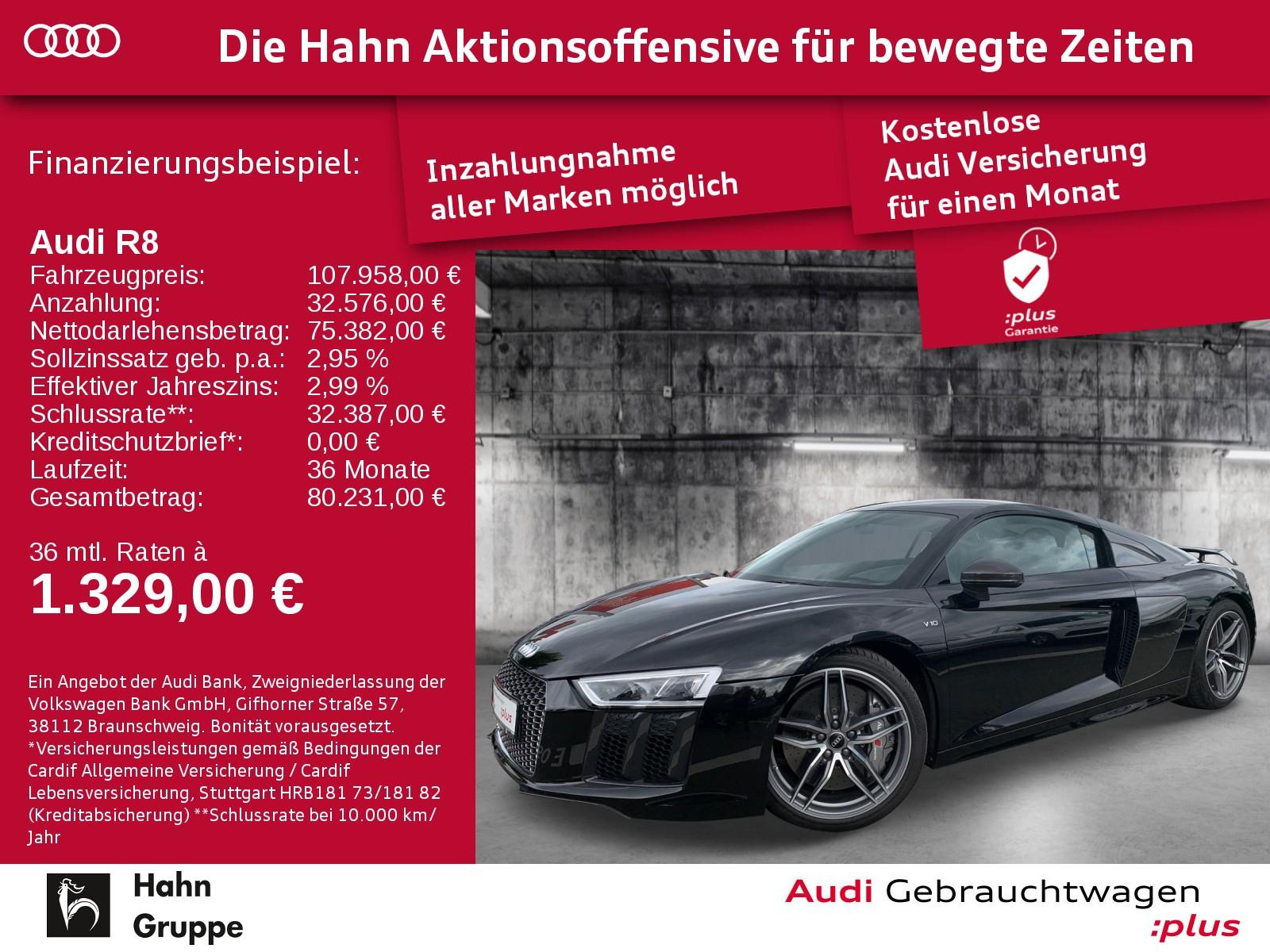 Audi R8 plus 5.2 FSI SportabGas B&O Keramik DAB LED Nav, Jahr 2016, Benzin