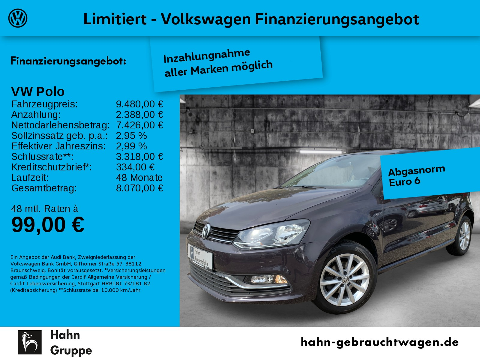Volkswagen Polo 1.0 Lounge Navi Climatr Tempo Sitzh, Jahr 2016, Benzin