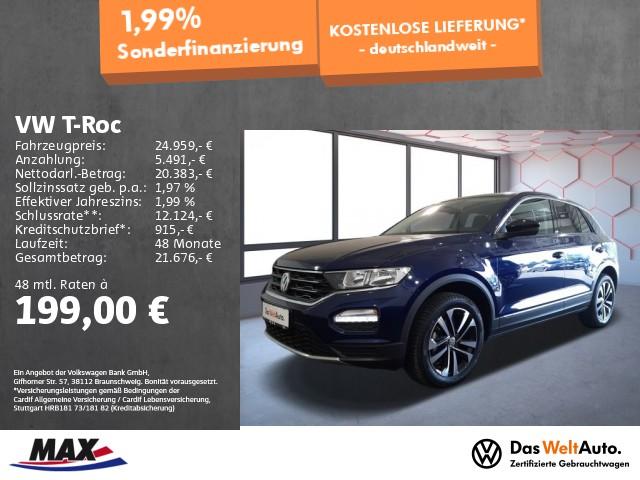 Volkswagen T-Roc 1.5 TSI UNITED NAVI+ALU+SITZHZ+EINPARKHILFE, Jahr 2020, Benzin