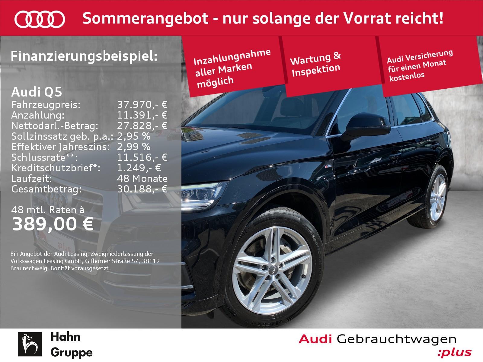 Audi Q5 2.0 TFSI qua. S-trc S-line Navi LED AHK CAM, Jahr 2018, Benzin