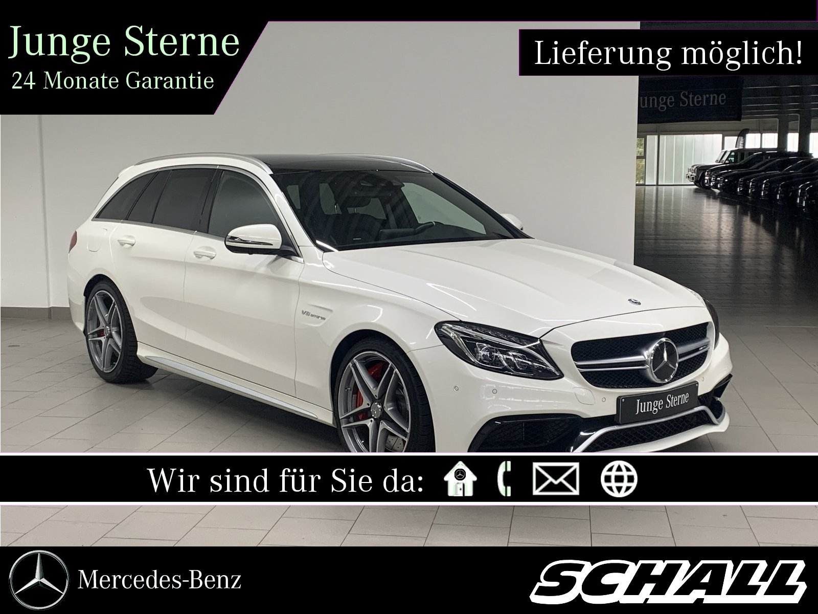 "Mercedes-Benz C 63 S T AMG+PANO+AHK+LED+COMAND+360°+19""AMG, Jahr 2017, petrol"