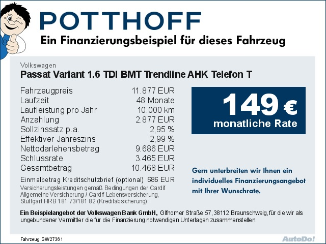 Volkswagen Passat Variant 1.6 TDI BMT Trendline AHK Telefon T, Jahr 2017, Diesel