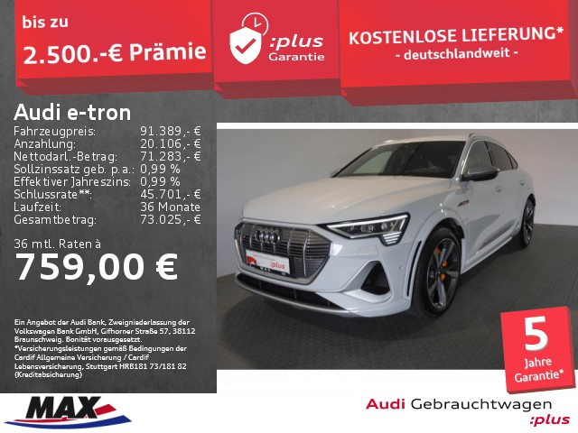 Audi e-tron Sportback S ++AHK+HUD+LEASING AB 949.- ++, Jahr 2020, Elektro