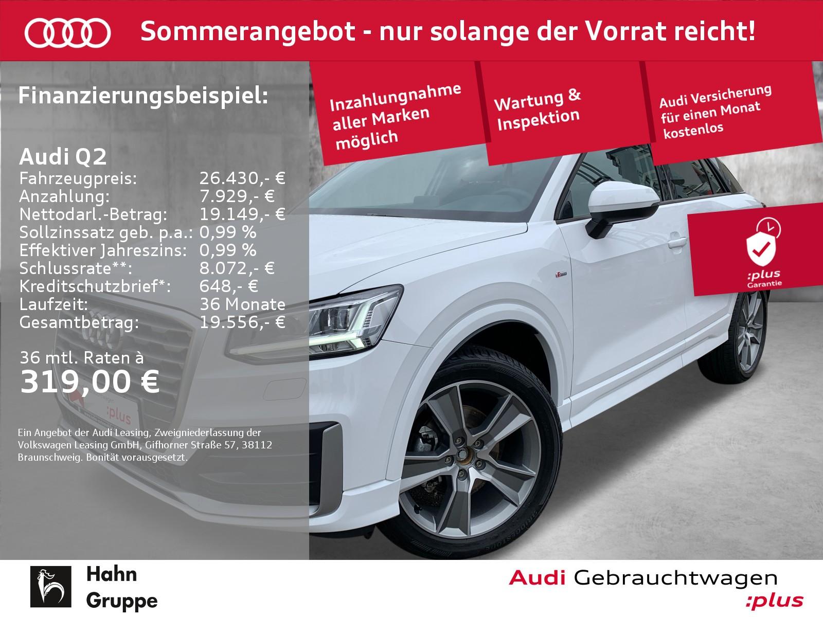 Audi Q2 1.0 TSI S-line Navi LED Sitzh Einpark Tempo, Jahr 2020, Benzin