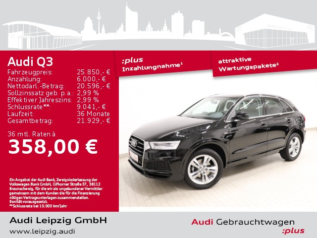 Audi Q3 2.0 TDI *S line*S tronic*LED-Paket*Navi*BT*, Jahr 2017, Diesel