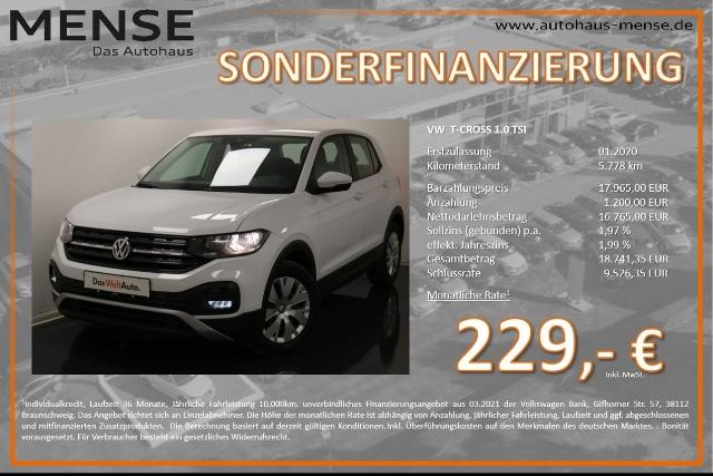 Volkswagen T-Cross 1.0 TSI FrontAssist Sitzkomfortpaket, Jahr 2020, Benzin