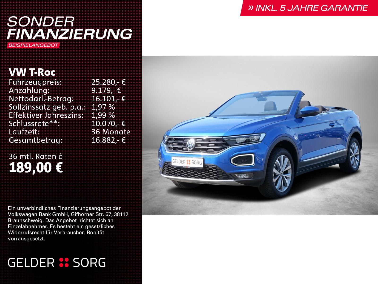 Volkswagen T-Roc Cabriolet Style *5J.Gar LED SHZ ACC Lane, Jahr 2020, Benzin