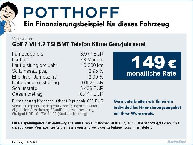 Volkswagen Golf 7 VII 1.2 TSI BMT Telefon Klima Ganzjahresrei, Jahr 2013, Benzin