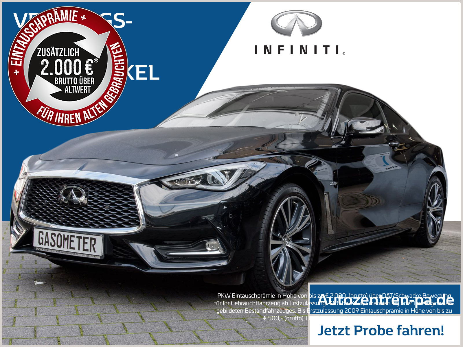 Infiniti Q60 S Sport Tech 2.0t Coupe Automatik / Glasdach / Kamera, Jahr 2017, petrol