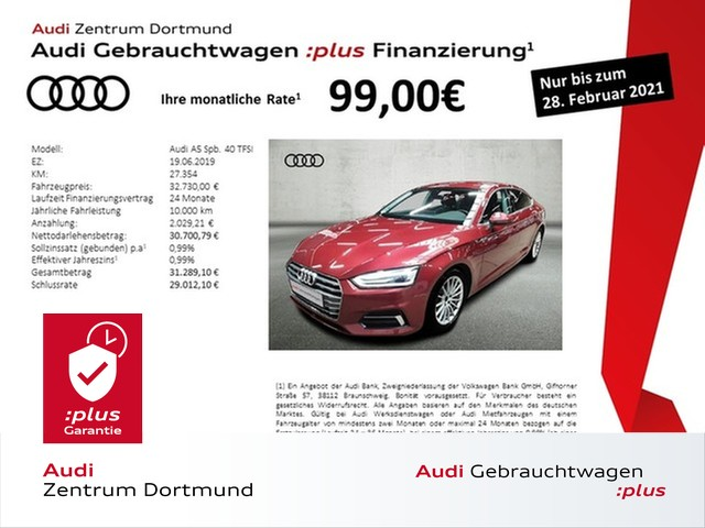 Audi A5 Sportback sport 40TFSI Leder/Navi+/eSitze/DAB, Jahr 2019, Benzin