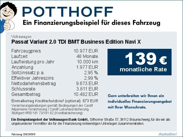 Volkswagen Passat Variant 2.0 TDI BMT Business Edition Navi X, Jahr 2014, Diesel