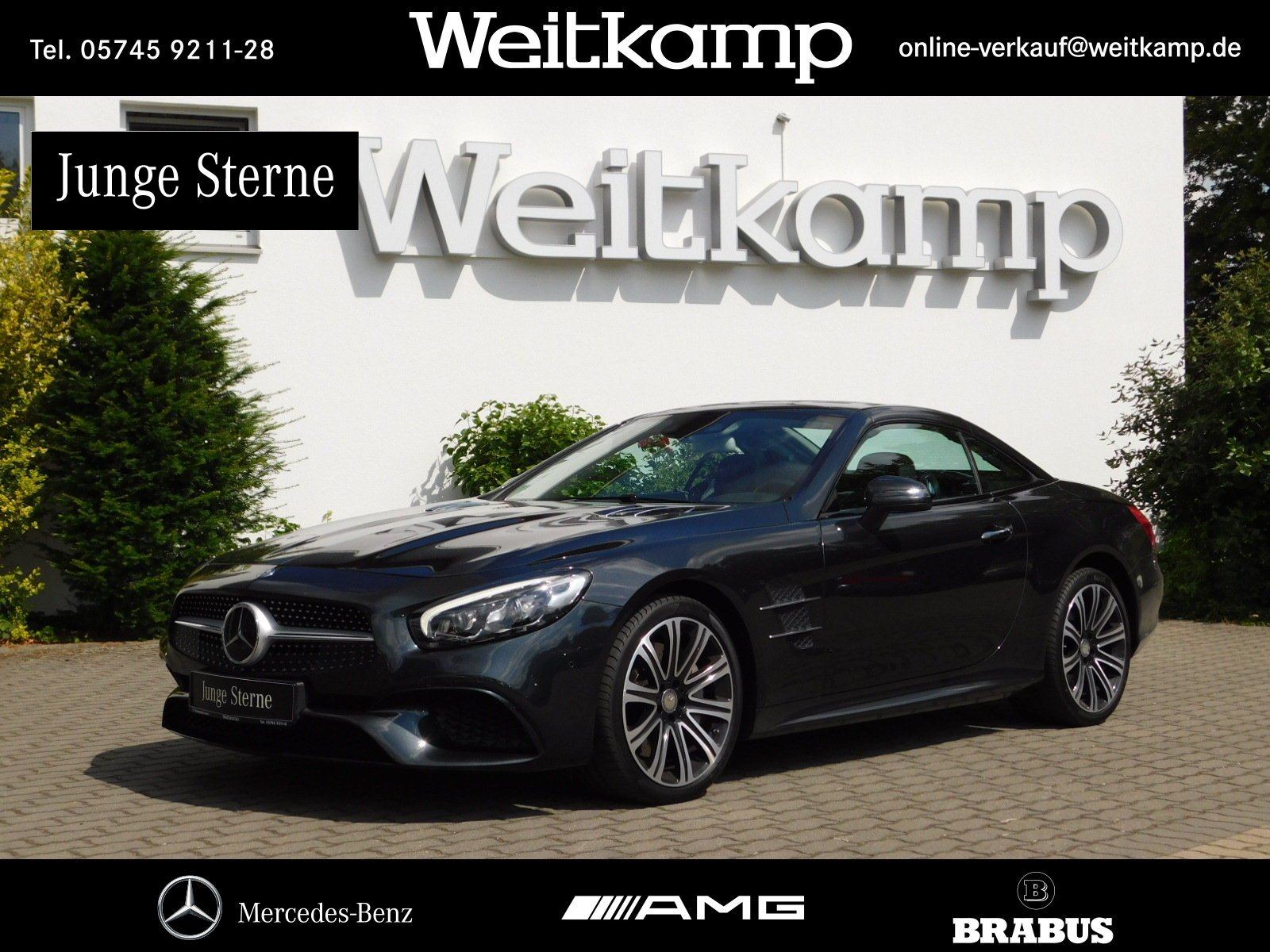 Mercedes-Benz SL 500 AMG+Pano+Distr.+H&K+Airscarf+Keyless+Kam., Jahr 2015, petrol